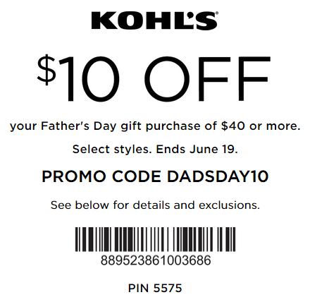 Kohls Dad's Day Sale 2016 Coupon