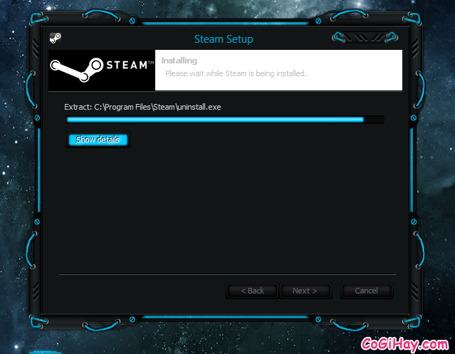 đang cài đặt Steam