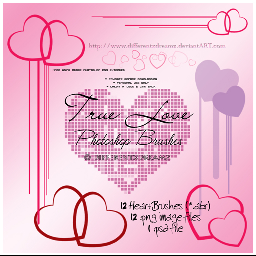 True Love: Heart Brushes by differentxdreamz