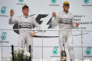 Nico Rosberg & Lewis Hamilton on the podium