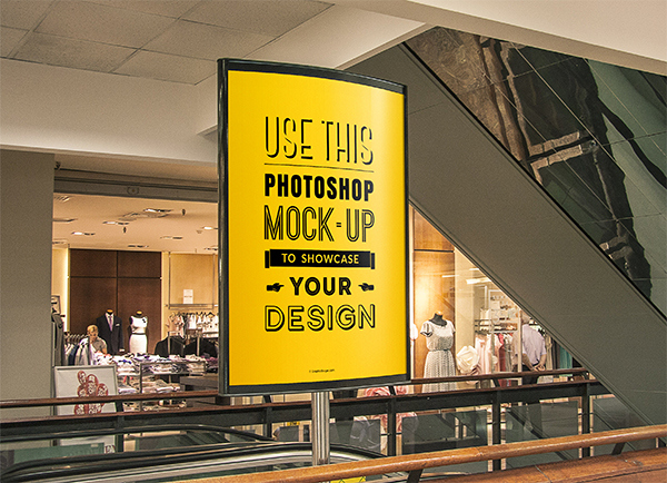 Free PSD Poster Mockup for Indoor Advertising
