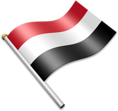 The Yemeni flag on a flagpole clipart image