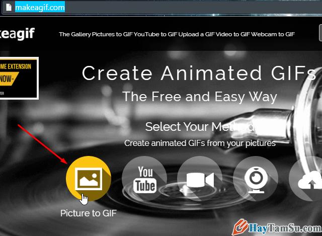 Chọn tạo ảnh động GIF từ ảnh