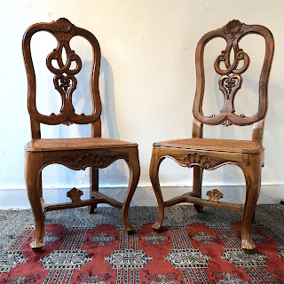 Italian Walnut  Side Chair Pair