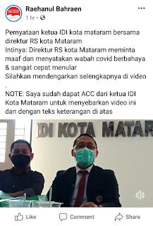 Direktur RS kota Mataram meminta maaf
