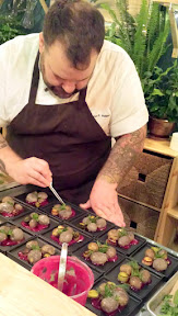 Chef Aaron painstakingly prepearing the Filbert yogurt and ash coated potatoes with herbs on red beet kombucha with a River Rock presentation