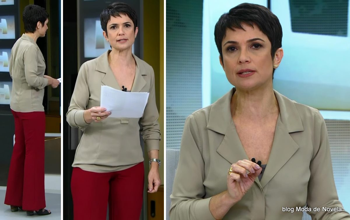 moda do programa Jornal Hoje - look da Sandra Annenberg dia 29 de maio