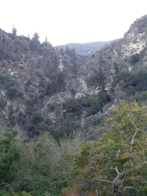narrow cleft in the land