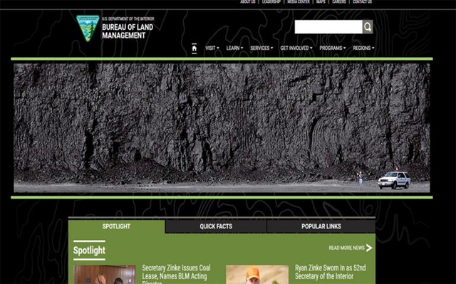 Screenshot of the U.S. Bureau of the Land Management web site on 6 April 2017, showing a photo of a coal seam, from Peabody Energy via Wikimedia Commons, instead of the usual pastoral imagery. The Peabody photo shows 'an 80-foot coal seam at the North Antelope Rochelle open cut coal mine', and was taken in 2004. Photo: BLM / Peabody Energy / Wikimedia Commons