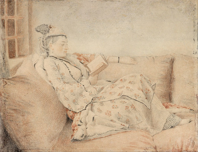 Jean-Étienne Liotard - Lady in Turkish dress, reading - Google Art Project