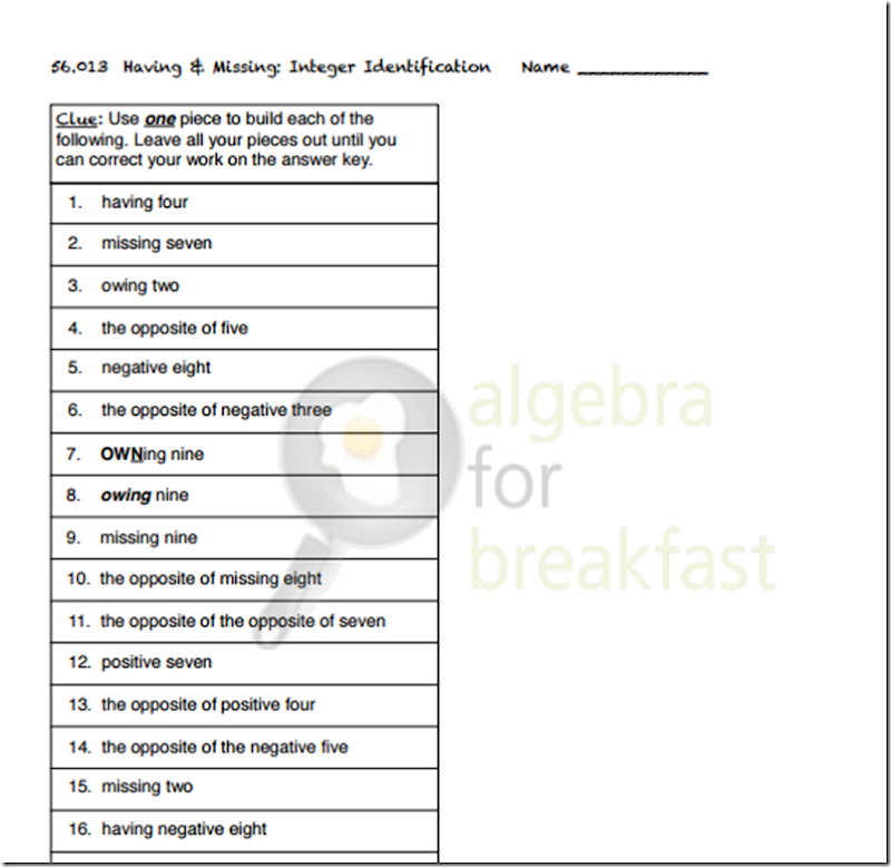 algebra for breakfast worksheet