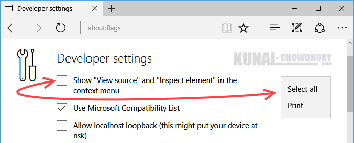 Uncheck to hide View Source and Inspect Element in the Microsoft Edge context menu (www.kunal-chowdhury.com)
