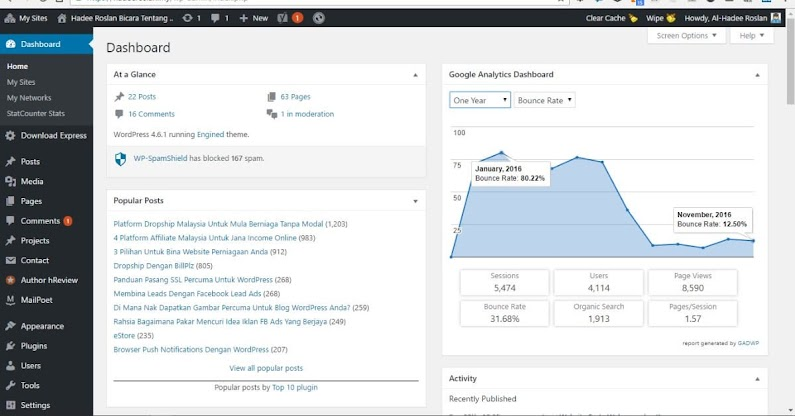 Google Analytics Dashboard for WP OneYear Bounce Rate