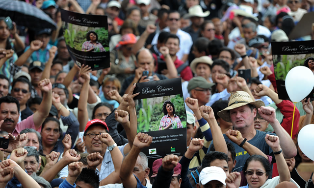 Hundreds gathered for the funeral of murdered indigenous activist Berta Cáceres, in La Esperanza on 5 March 2016. Photo: Orlando Sierra / AFP / Getty Images