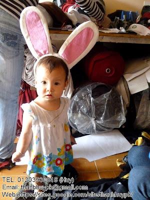 nón con thỏ em bé