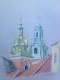 wieże katedry na Wawelu, kredka, karton