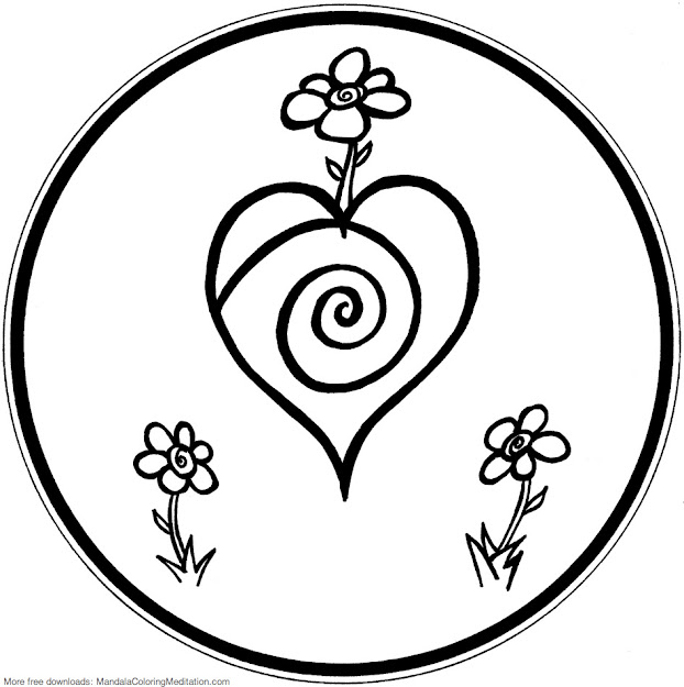 Printable Children Coloring Page Flower Heart Mandala  By Mandala Coloring  Pages
