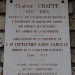Cimetière de Belleville : plaque commémorative Claude Chappe (1763-1805)