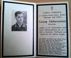 Bidprentje van Duitse Luftwaffe soldaat Georg Habersetzer die op 21 april 1945 in Enschede sterft. Enschede was toen al 3 weken bevrijd dus waarschijnlijk is hij in het ziekenhuis in Enschede aan zijn verwondingen overleden.