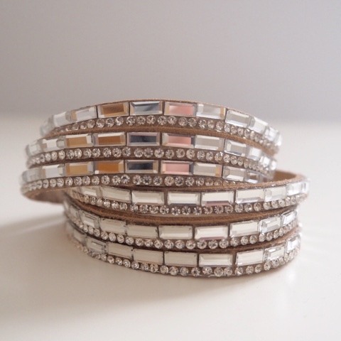 Tan suedette sparkly wrap bracelet with rectangular baguette diamantes