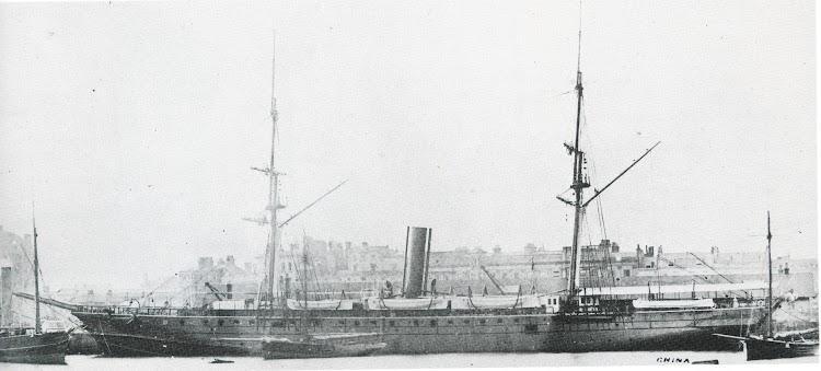 Vapor CHINA, que antes habia sido el HABANA. Lugar y fecha indeterminados. Del libro P&O A Fleet History.jpg