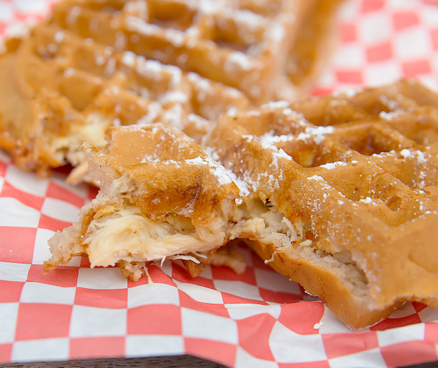 close-up photo of the chicken baked into the waffle