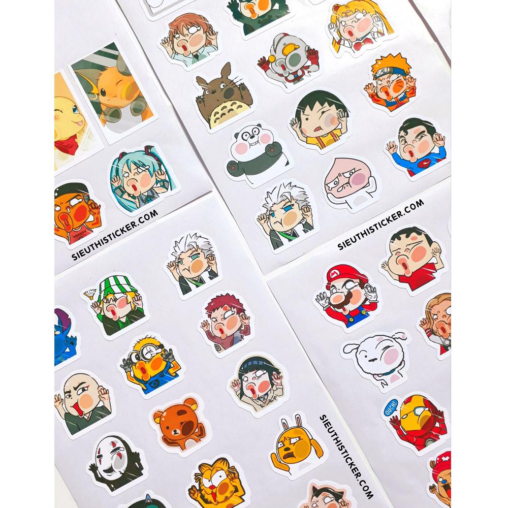sticker giấy anime đập mặt dễ thương