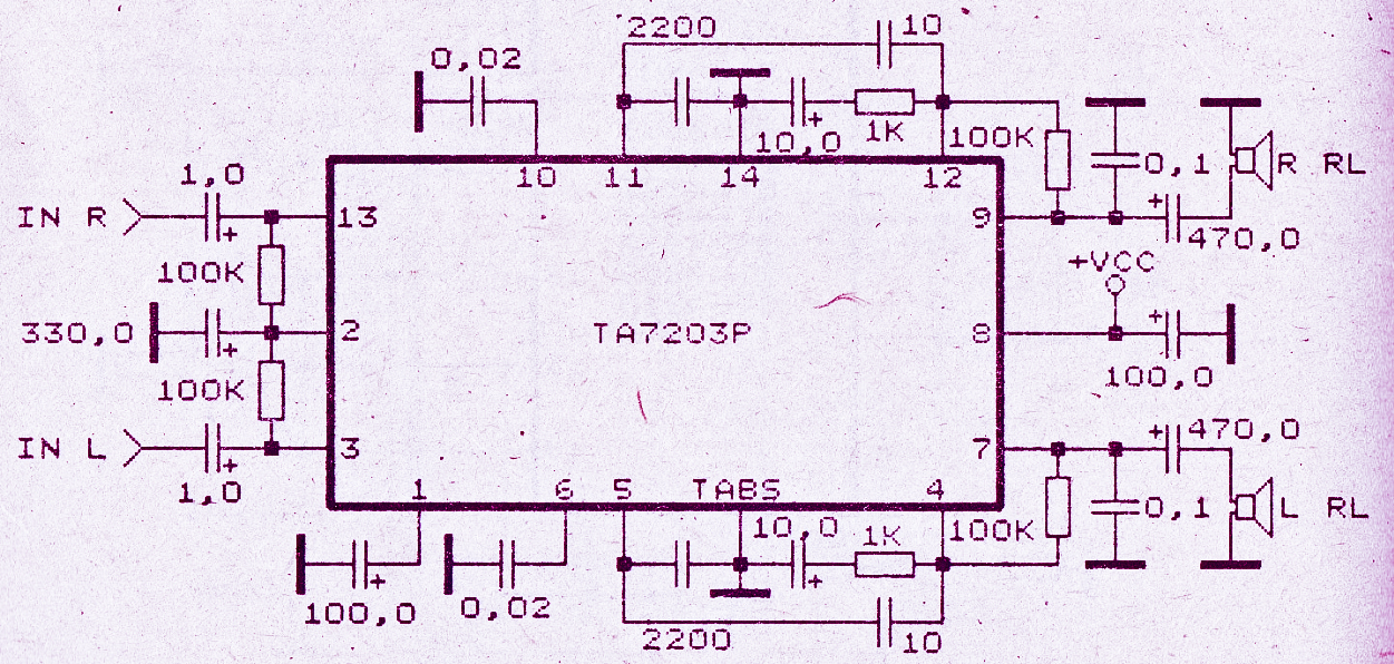 audio amplifier with ic ta7203p electronic circuitaudio amplifier with ic ta7203p