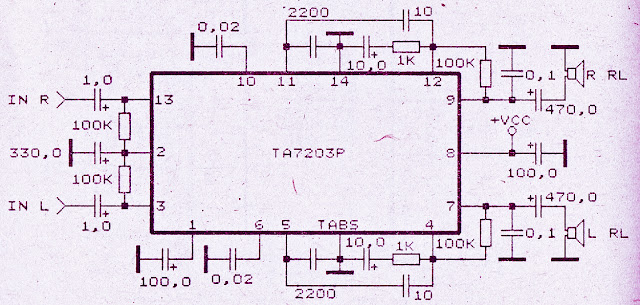 Audio amplifier with IC TA7203P