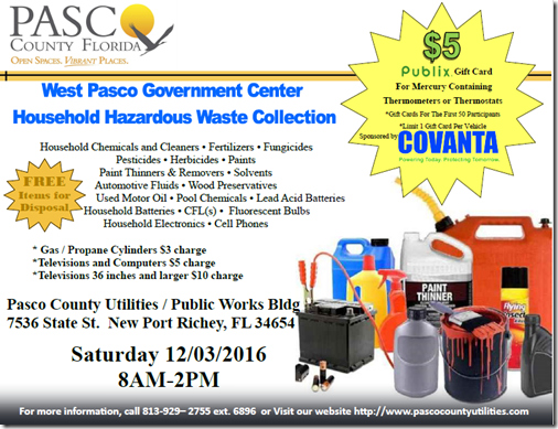 Pasco County Hazardous Waste Collection