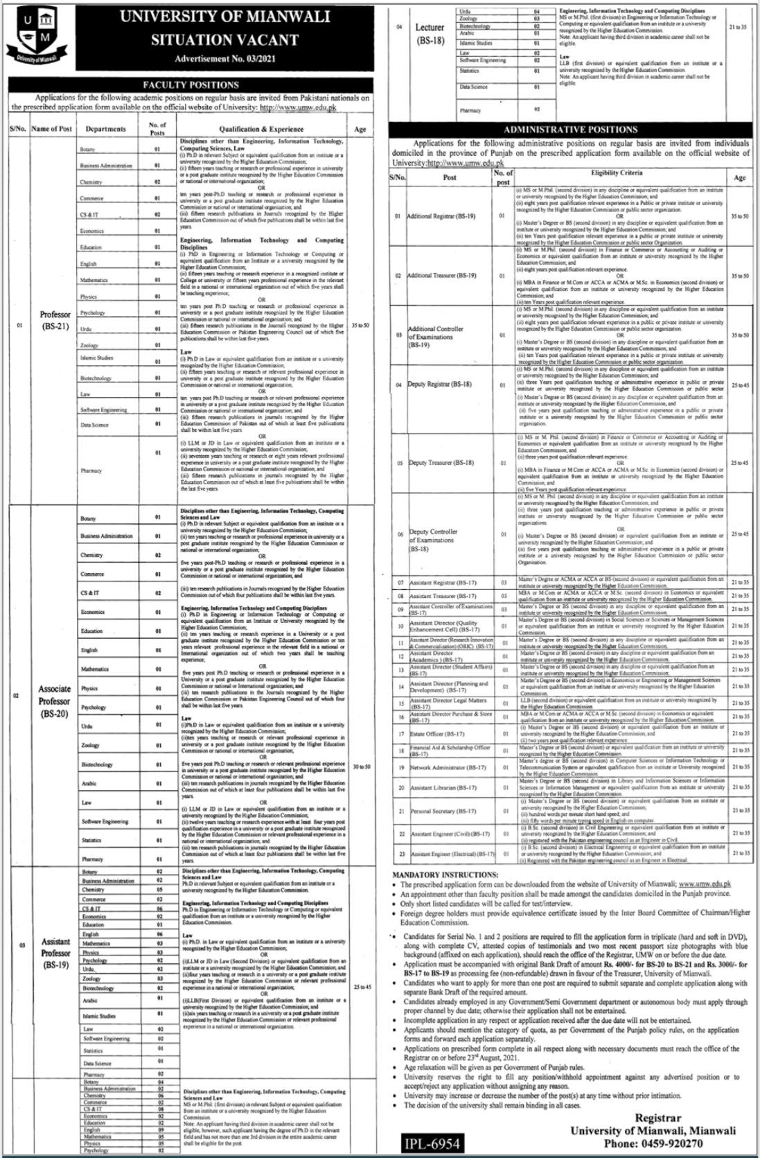 Latest University Of Mianwali Jobs 2021 Advertisement
