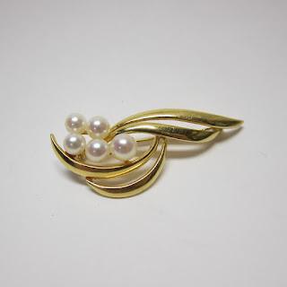 18 Kt. Gold & Pearl Brooch