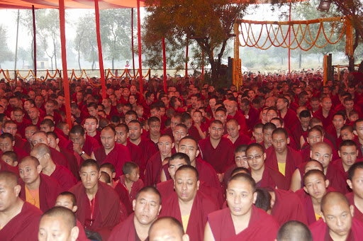 Most of the monks from Sera Je Monastery offering long life puja to Lama Zopa Rinpoche, Bodh Gaya, India, January 2012.
