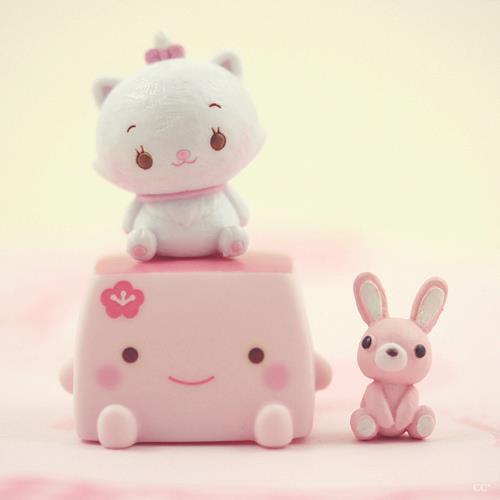 Imagen fondo kawaii gato conejo rosa chicas
