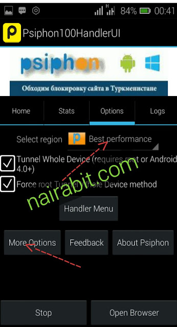 MTN GAME free150mb working Psiphon settings2