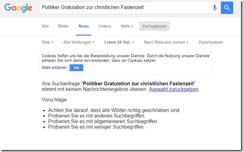 Google News Suche christliche Fastenzeit