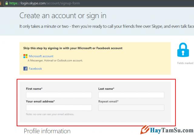 Thông tin cơ bản đăng ký Skype