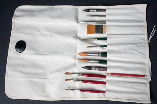 Review tran natural canvas artist paint brush roll up for Canvas roll for painting
