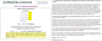 Imagen de la reseña del Boletín Informativo de AMYTS-FEMYTS del 02/03/11
