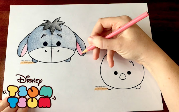 Disney Tsum Tsum Coloring Cute Eeyore  Piglet Toys From Winnie The Pooh