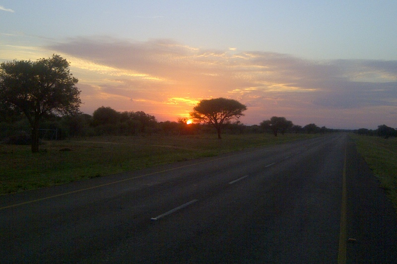 Sunrise on my daily bike road on the road to Sikwane
