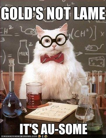 photo of a lab cat saying gold is au-some