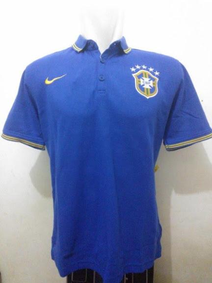 Jual Kaos Polo Brazil Biru Terbaru 2014
