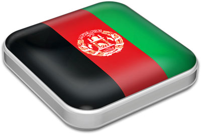 Flag of Afghanistan with metallic square frame