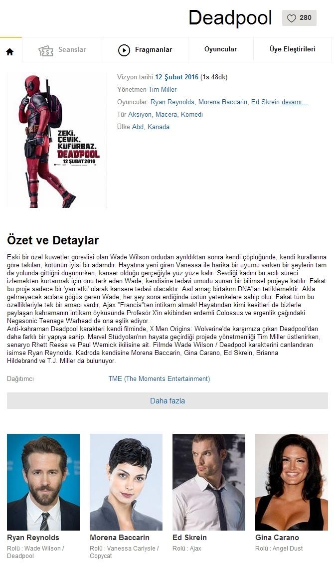 Deadpool - 2016 480p BDRip x264 - Türkçe Dublaj Tek Link indir