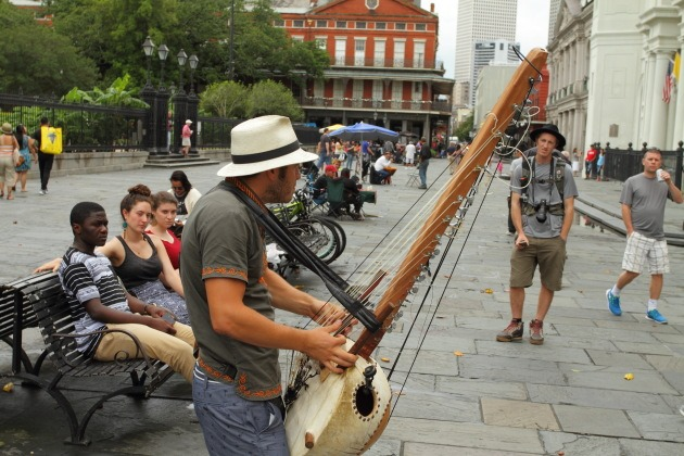 New Orleans Street Musician playing Kora African Base Harp