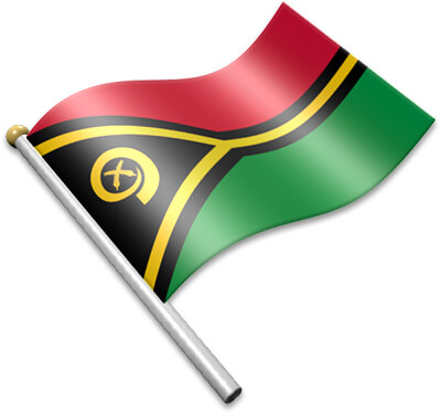The Vanuatuan flag on a flagpole clipart image