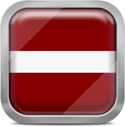 Latvia square flag with metallic frame