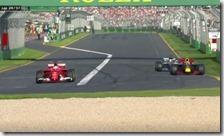 Vettel rientra in pista davanti a Verstappen e Hamilton