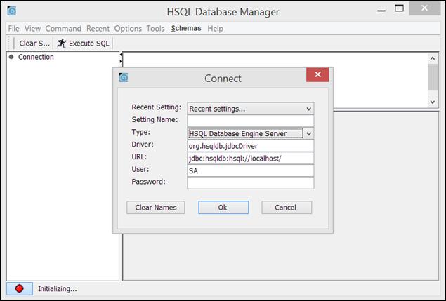 conectarse al servidor hsqldb